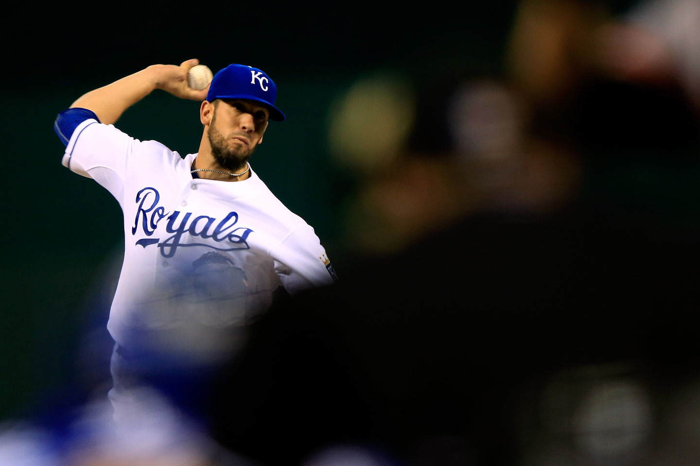 Royals starter James Shields stumbles through a long first inning, throwing 32 pitches. (Jamie Squire/Getty Images)