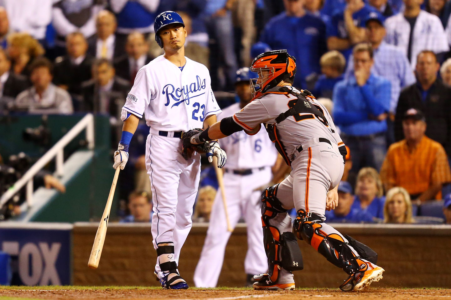 A key out for Bumgarner in the bottom of the third: striking out Nori Aoki with one out and runners on second and third. Bumgarner walked Lorenzo Cain to load the bases before Eric Hosmer grounded out to end the the threat.  (Dilip Vishwanat/Getty Images)