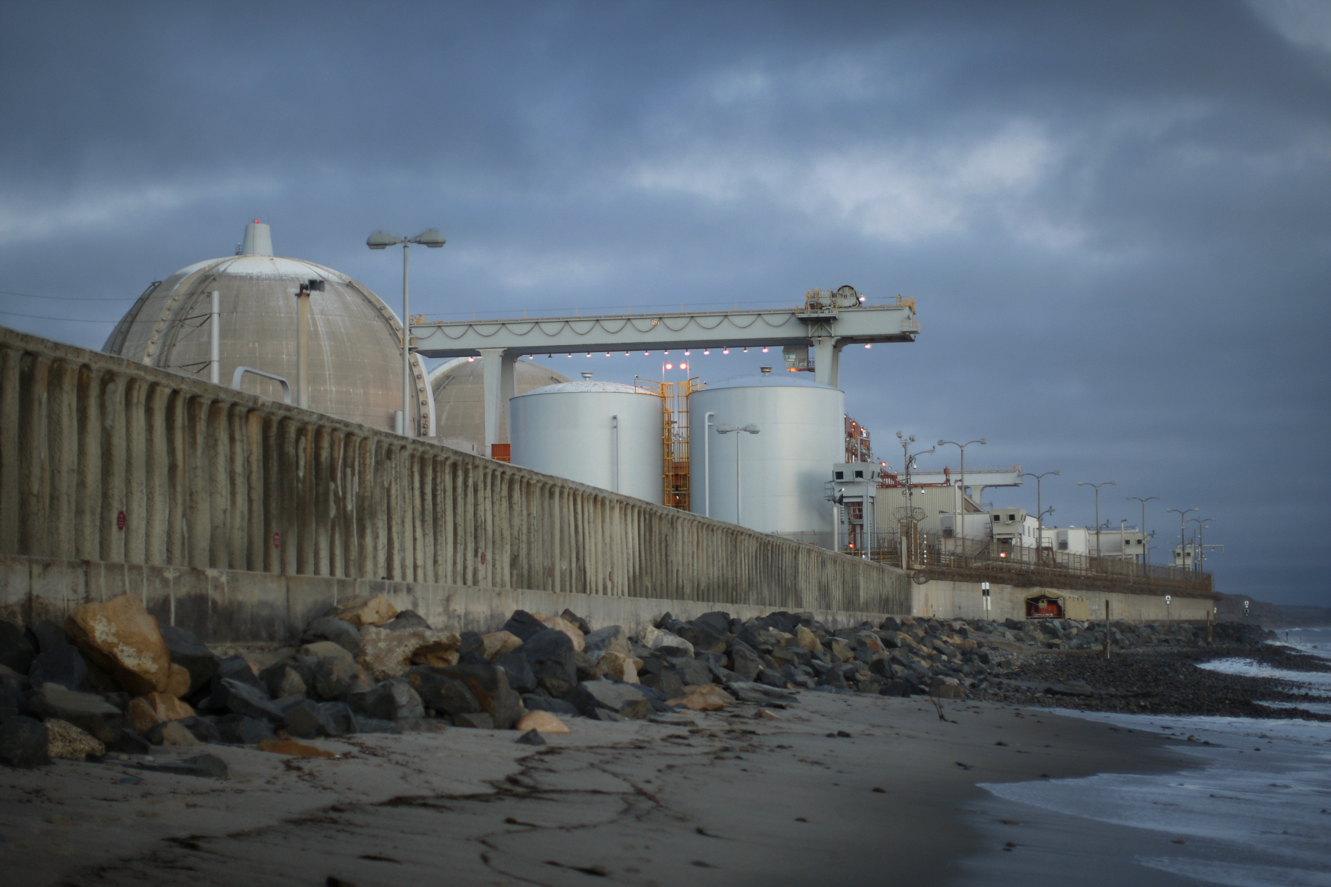 Ocean waves come ashore near the San Onofre Nuclear Generating Station.