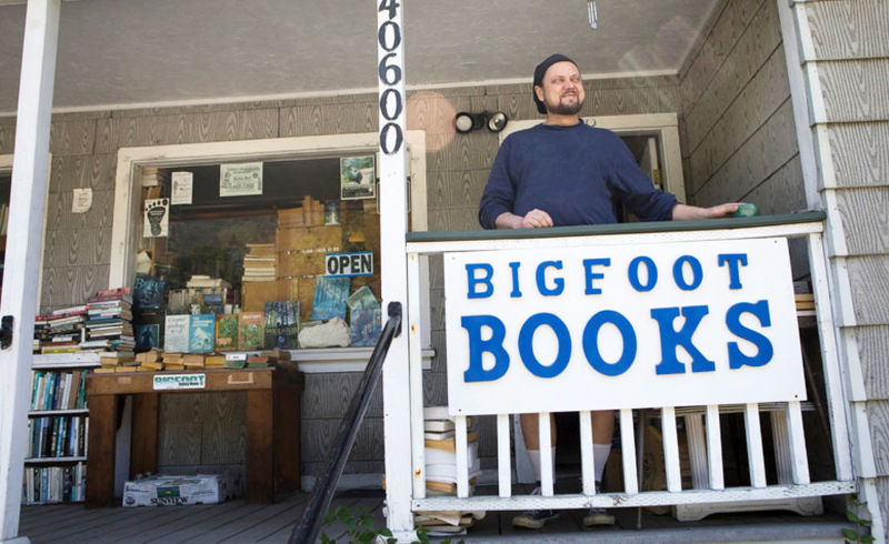 Steve Streufert outside Bigfoot Books in Willow Creek.