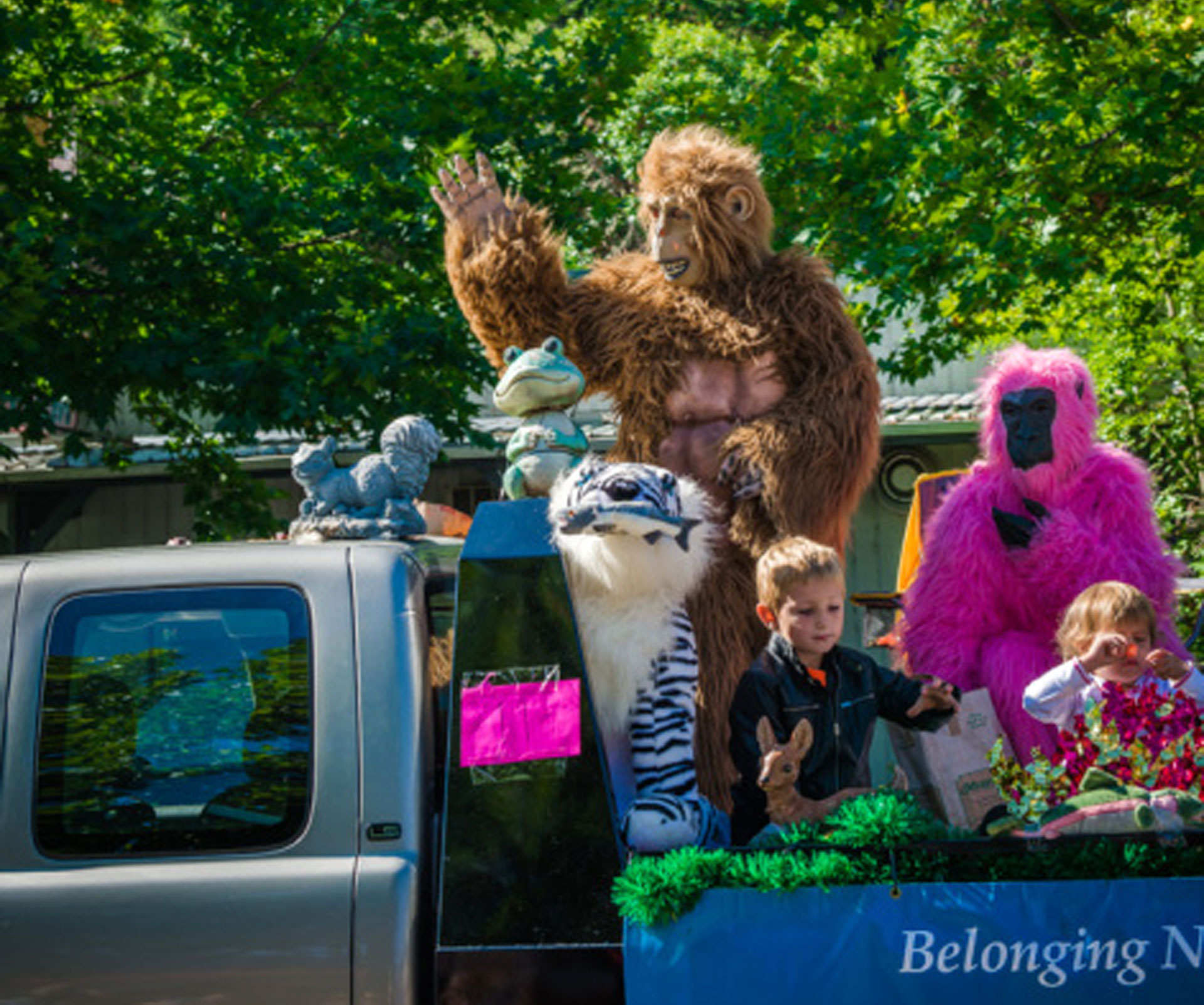 Bigfoot (?) rides on a truck during Bigfoot Days in Willow Creek.