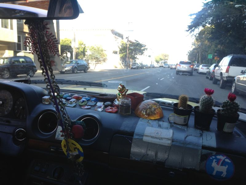 Steeno has glued keepsakes to his dashboard, including cacti where there would normally be an airbag. Ouch.