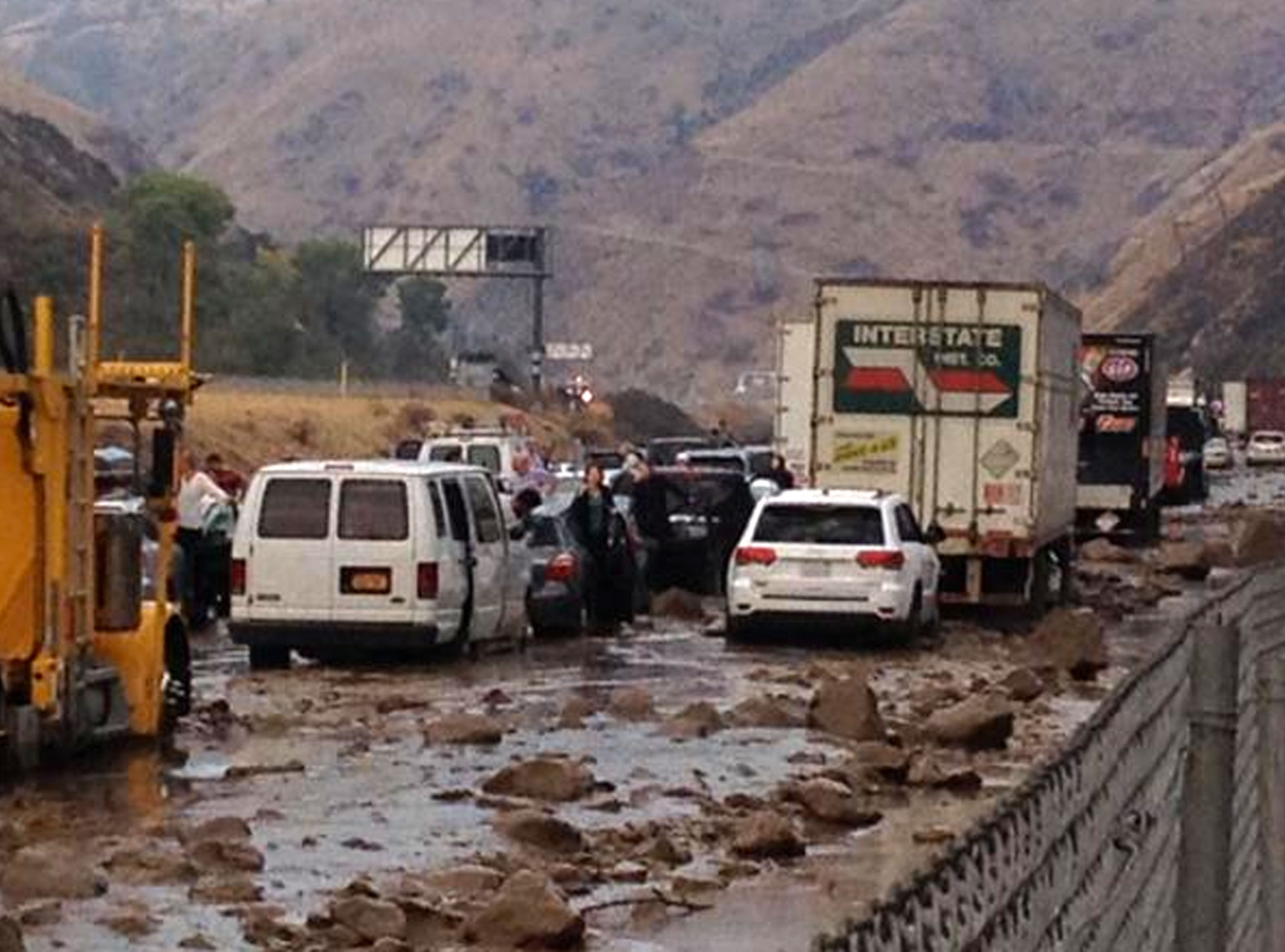 Caltrans photo of traffic stopped on Interstate 5 north of Los Angeles after a deluge triggered mudflows.