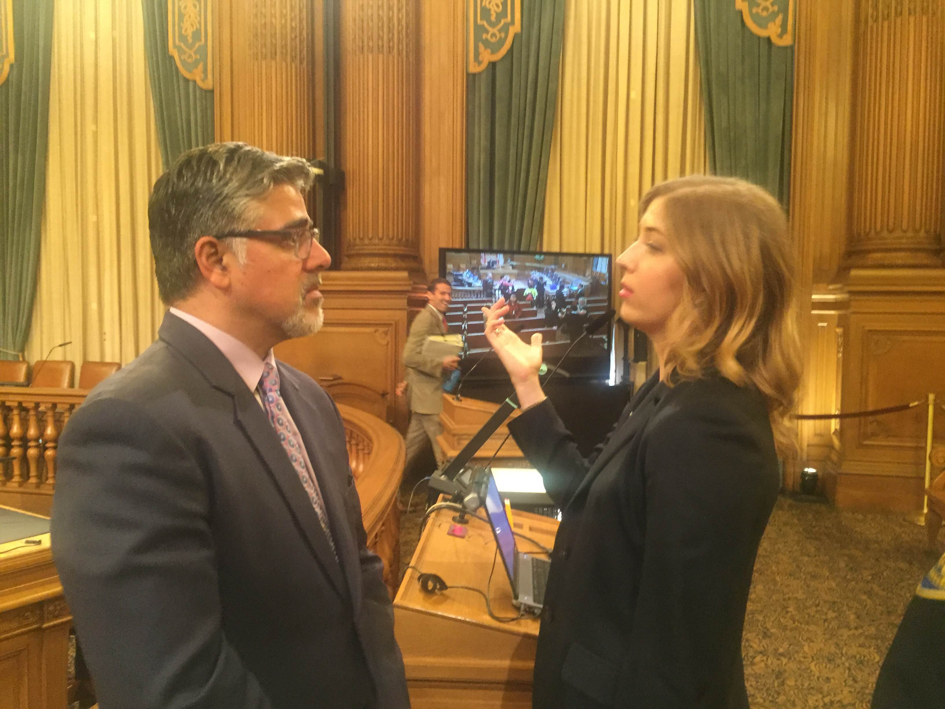 Supervisor John Avalos and Victoria Weatherford, an assistant city attorney assigned to Ingleside Police Station, at a hearing on Oct. 15, 2015.