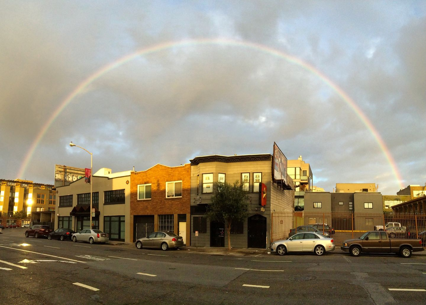 A rainbow over San Francisco on Wednesday morning, as viewed from Harrison and Dore streets.  Dan Brekke/KQED