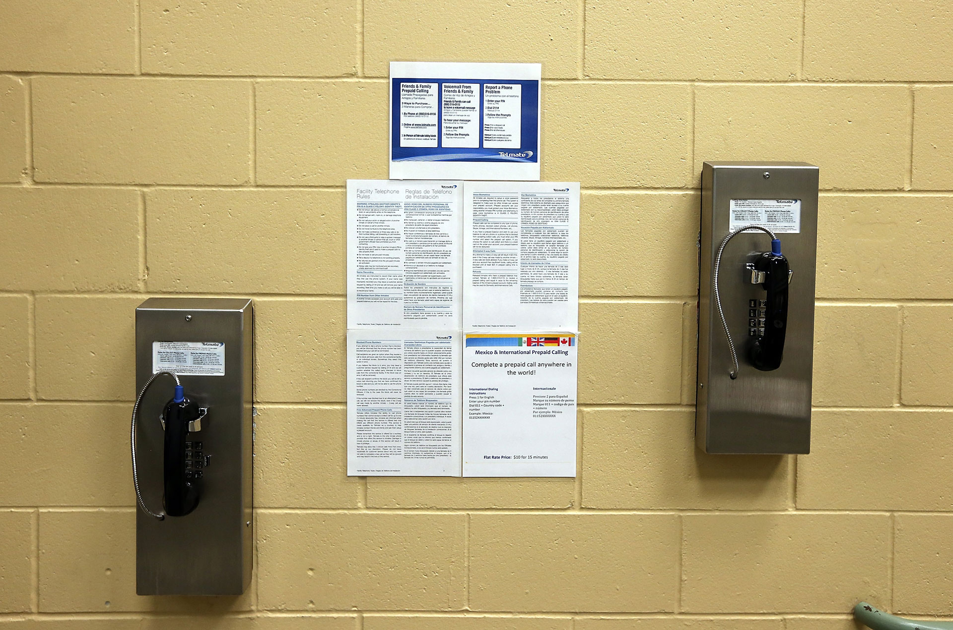 Pay phones for inmates at the Fremont Police Detention Facility in Fremont, California.