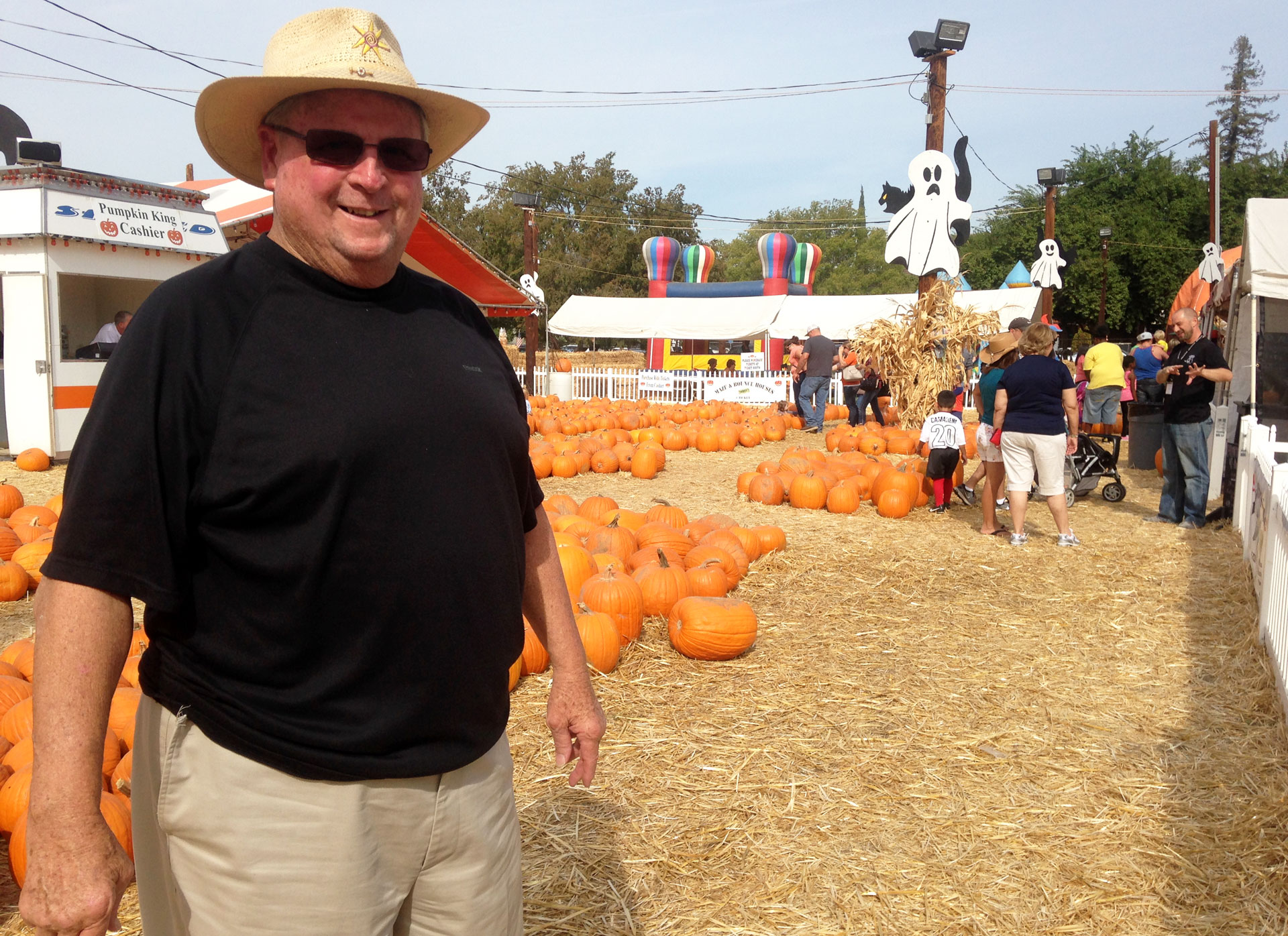 Wayne Martin stands in his Pumpkin King Pumpkin Patch in Fresno.