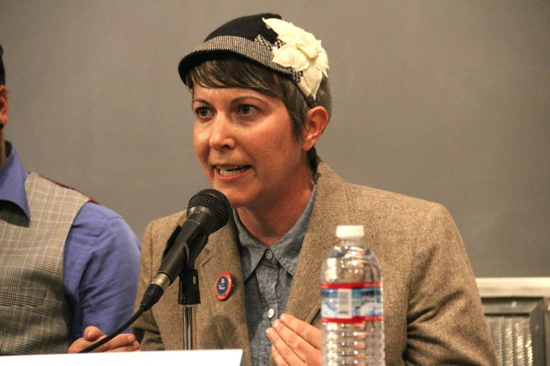 Mayoral candidate Amy Farah Weiss answers a question during a mayoral candidate forum at the University of California San Francisco on Oct. 8, 2015.