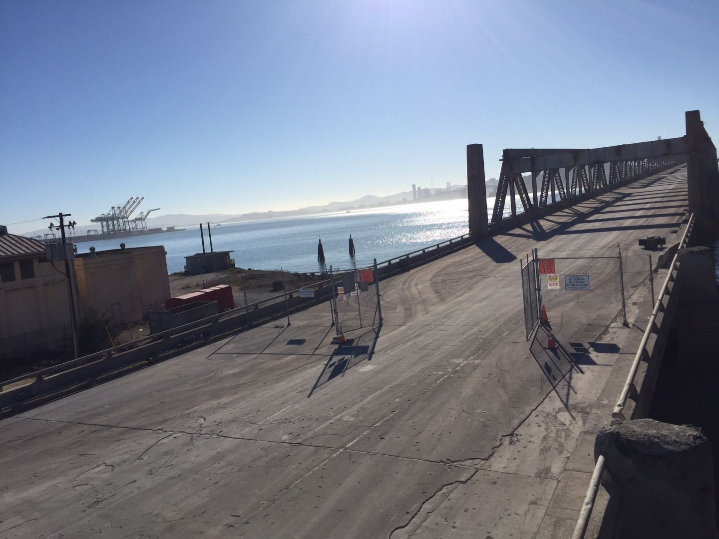 This road is used by work crews traveling on and off the old Bay Bridge.