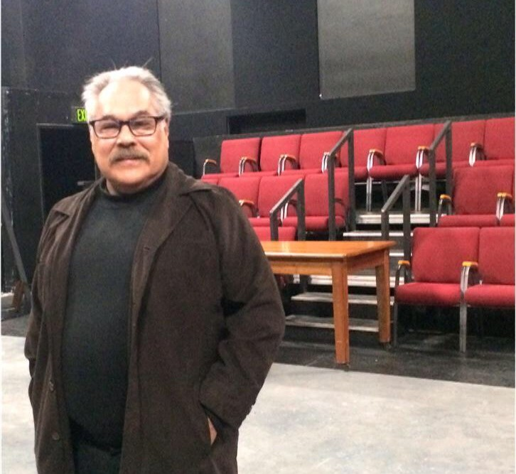 Playwright Luis Valdez at San Jose State where he started as a math major but later dropped it to become an English major.