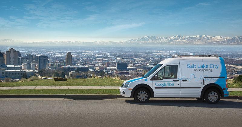 A Google Fiber installation van overlooking Salt Lake City.