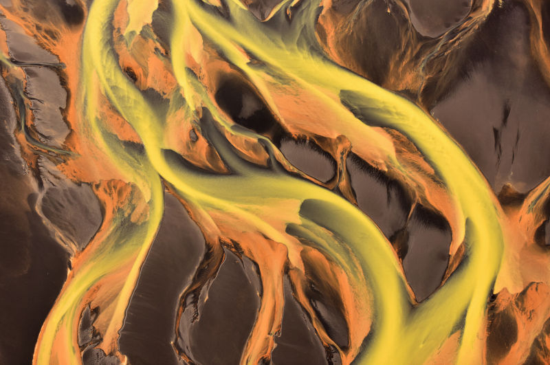 The rivers of Iceland, seen from above, look more like abstract art than anything that actually exists in nature.