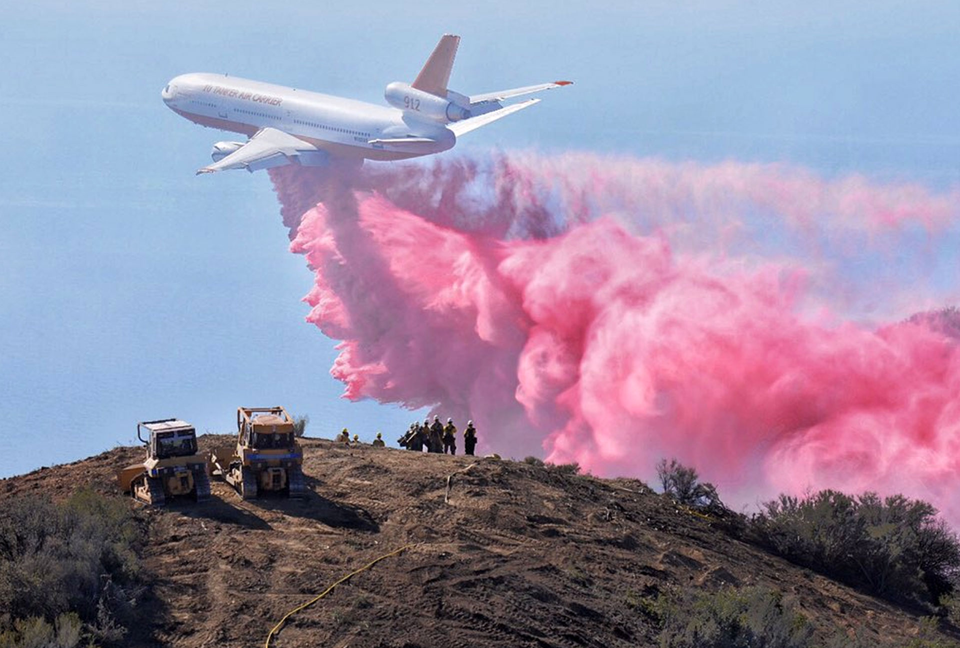 A DC-10 air tanker makes a drop in the foothills above Santa Barbara-Montecito on Thursday, Oct. 29, 2015.