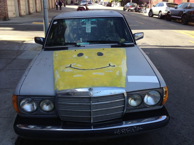 Steeno and his son painted his old car