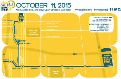 Map of the VivaCalleSJ route for Sunday from 10 a.m. to 3 p.m.