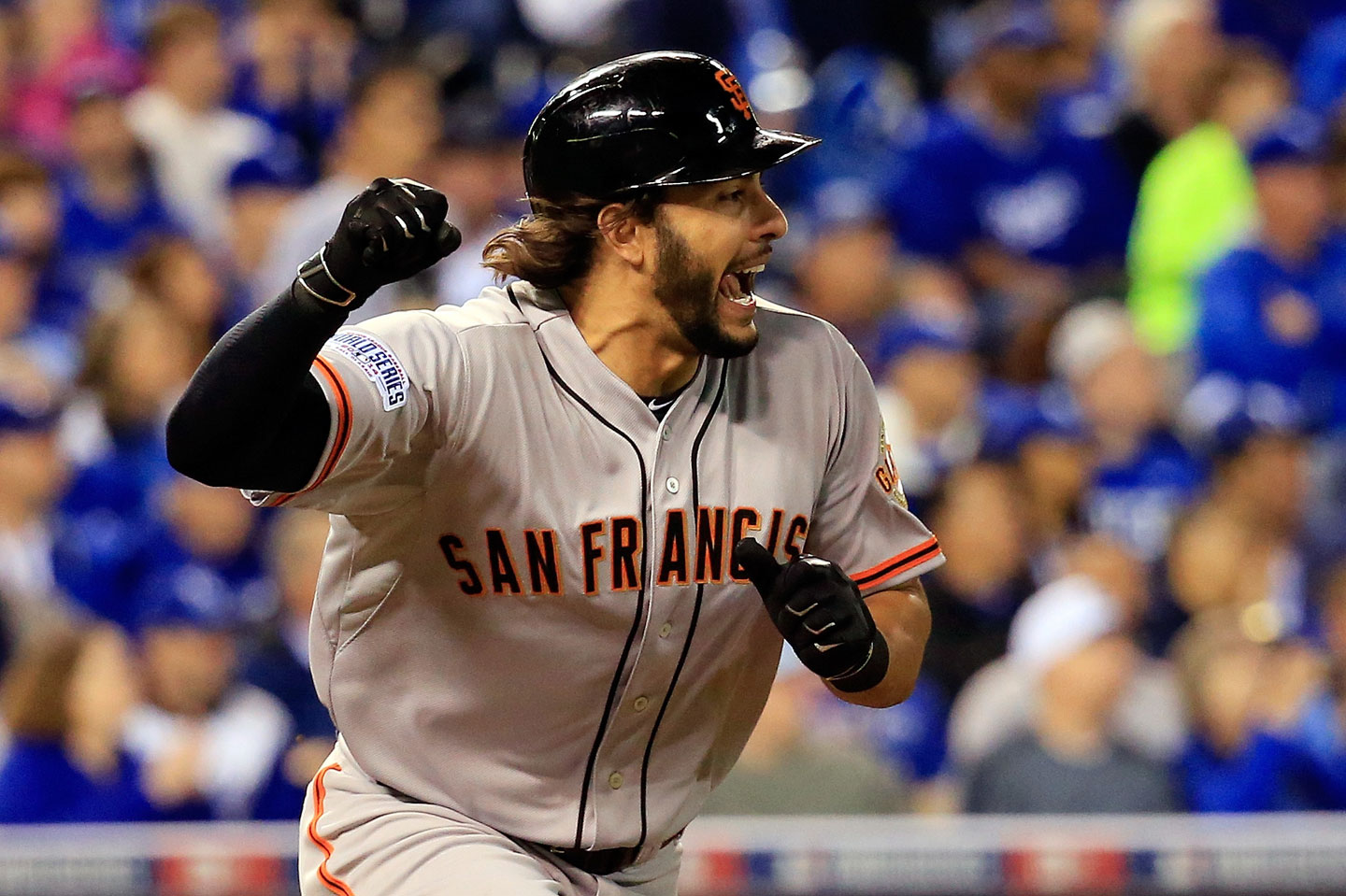 Michael Morse celebrates after hitting an RBI single in the fourth inning, allowing Hunter Pence to scamper home. (Rob Carr/Getty Images)