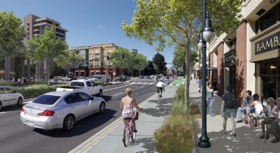 San Mateo is another community planning raised bike paths. They released these renderings earlier this year.