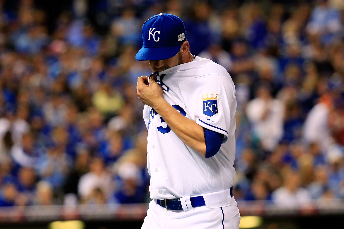 Royals starter James Shields is pulled after allowing the first three Giants to reach base in the top of the fourth -- the final blow being Morse's single to make the score 4-0. Shields was eventually charged with five earned runs on seven hits in just three complete innings.   (Rob Carr/Getty Images)
