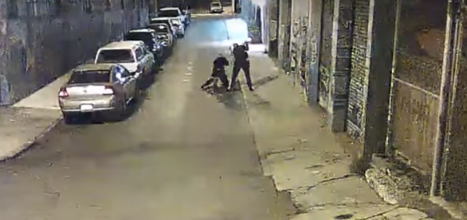 A screenshot from video released by the San Francisco Public Defender's Office reportedly showing Alameda County Sheriff's officers violently arresting a man early Thursday morning in San Francisco.