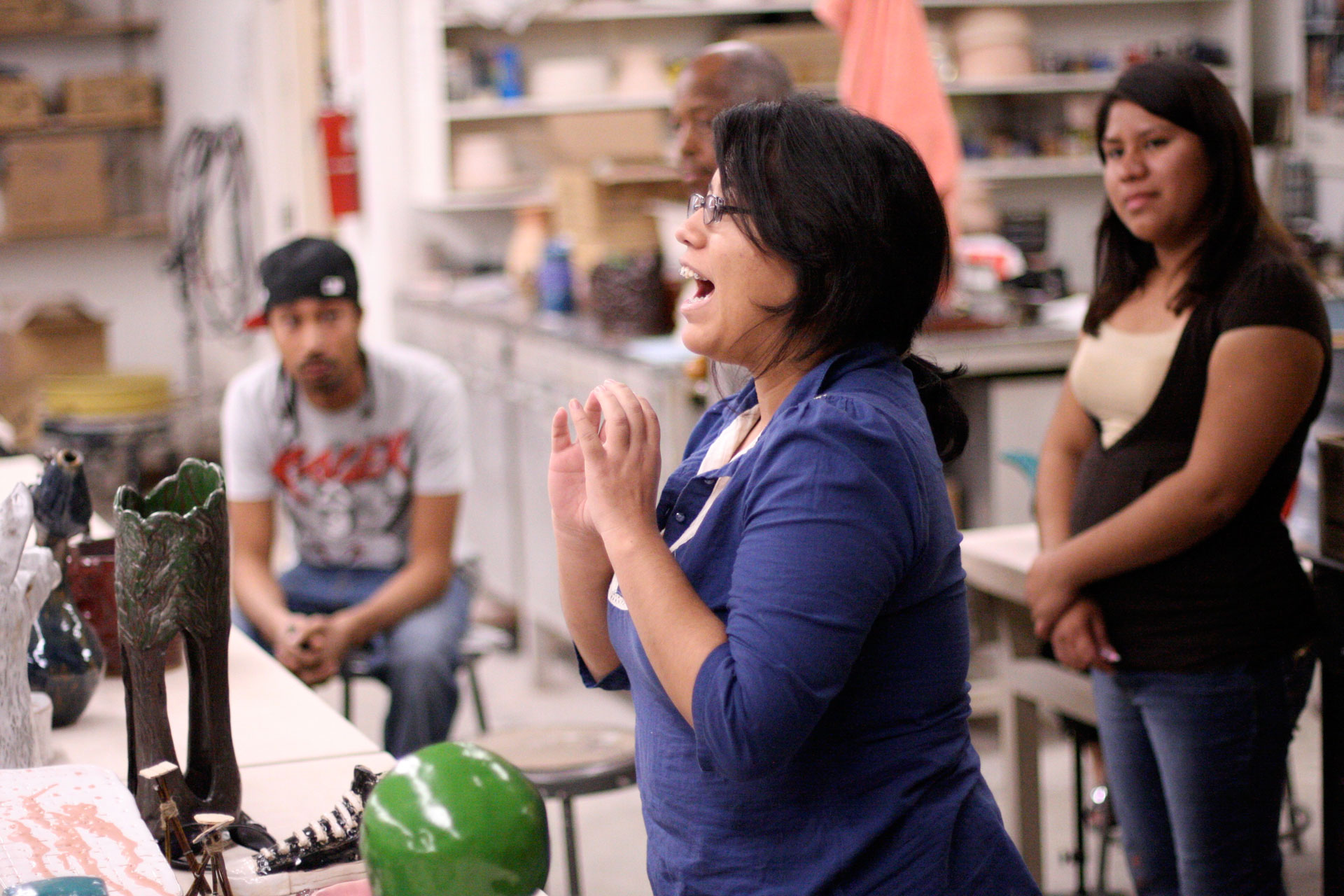 Students participate in a ceramics class at CSU Dominguez Hills.