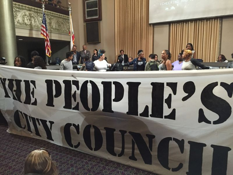 Activists shut down May 5 Oakland City Council meeting to protest development of a market-rate tower near Lake Merritt.