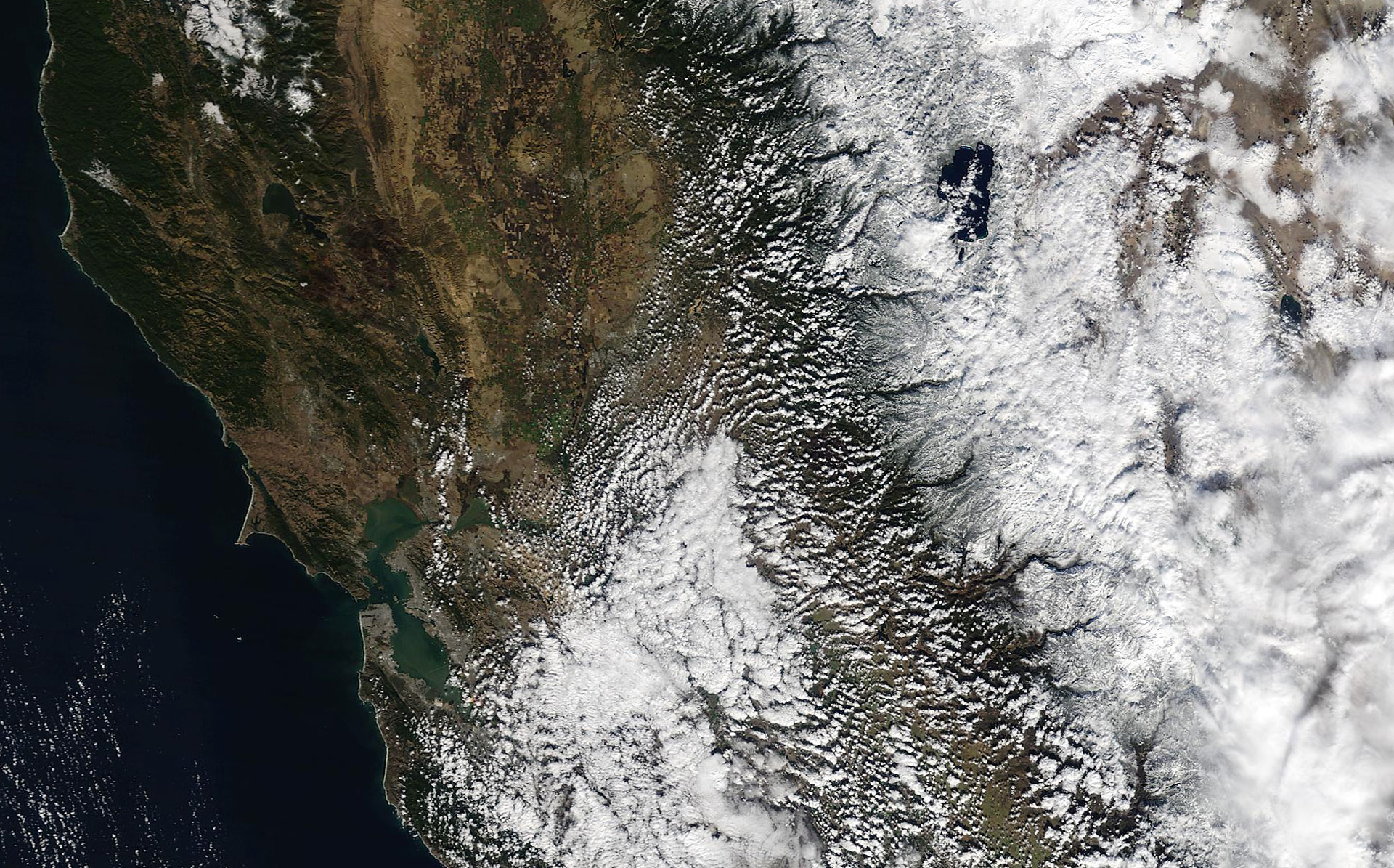 A hi-res image from NASA's MODIS satellite shows a fresh blanket of snow across the Central Sierra after Monday's storm. The Bay Area is visible in the lower-left. Lake Tahoe is in the upper-right.