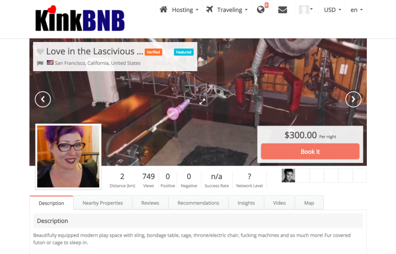 Eve Minax's listing on KinkBNB.