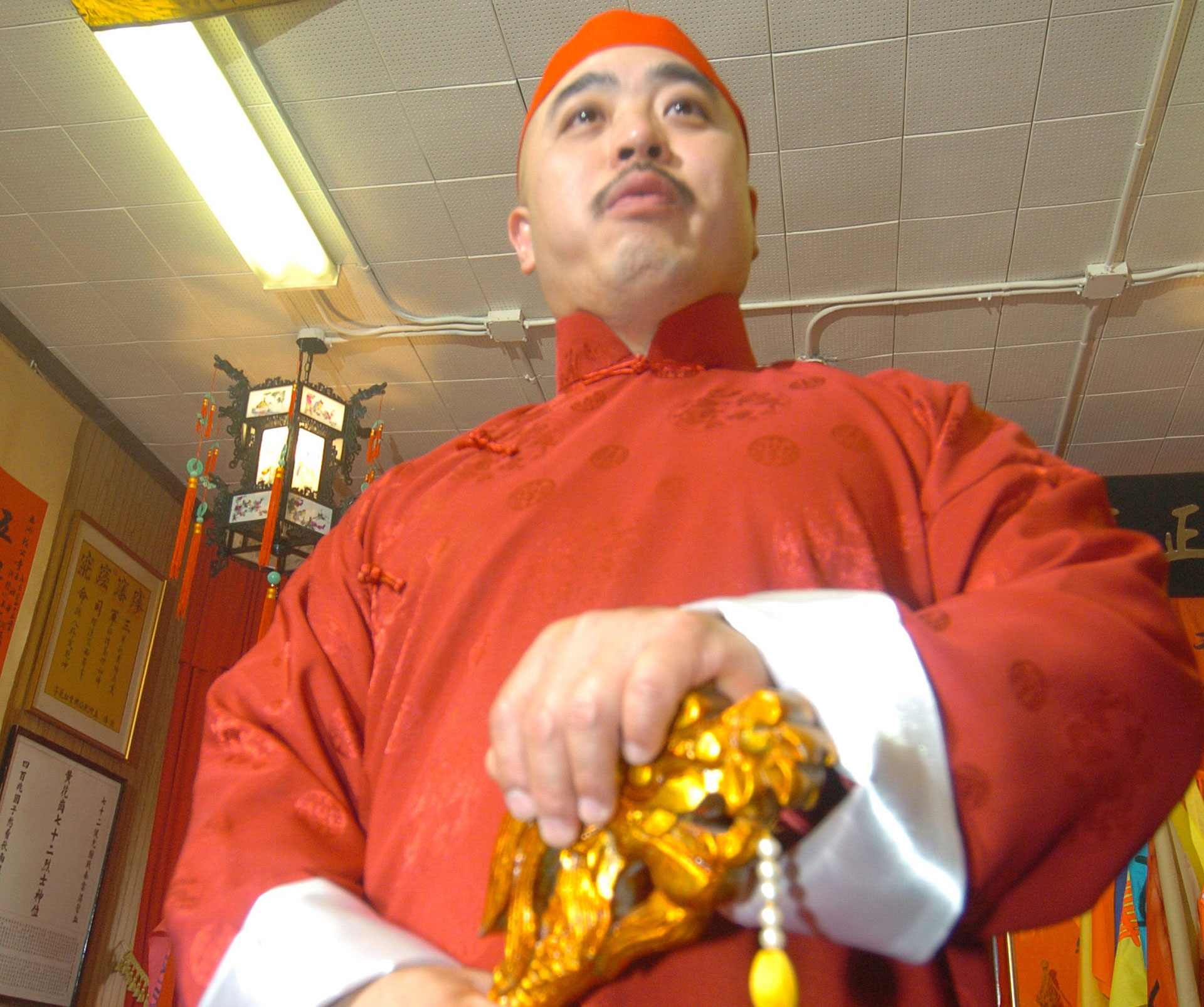 """In this photo taken Aug. 6, 2006, Raymond """"Shrimp Boy"""" Chow is shown after being sworn in as the """"Dragon Head"""" of the Chee Kung Tong in Chinatown in San Francisco."""