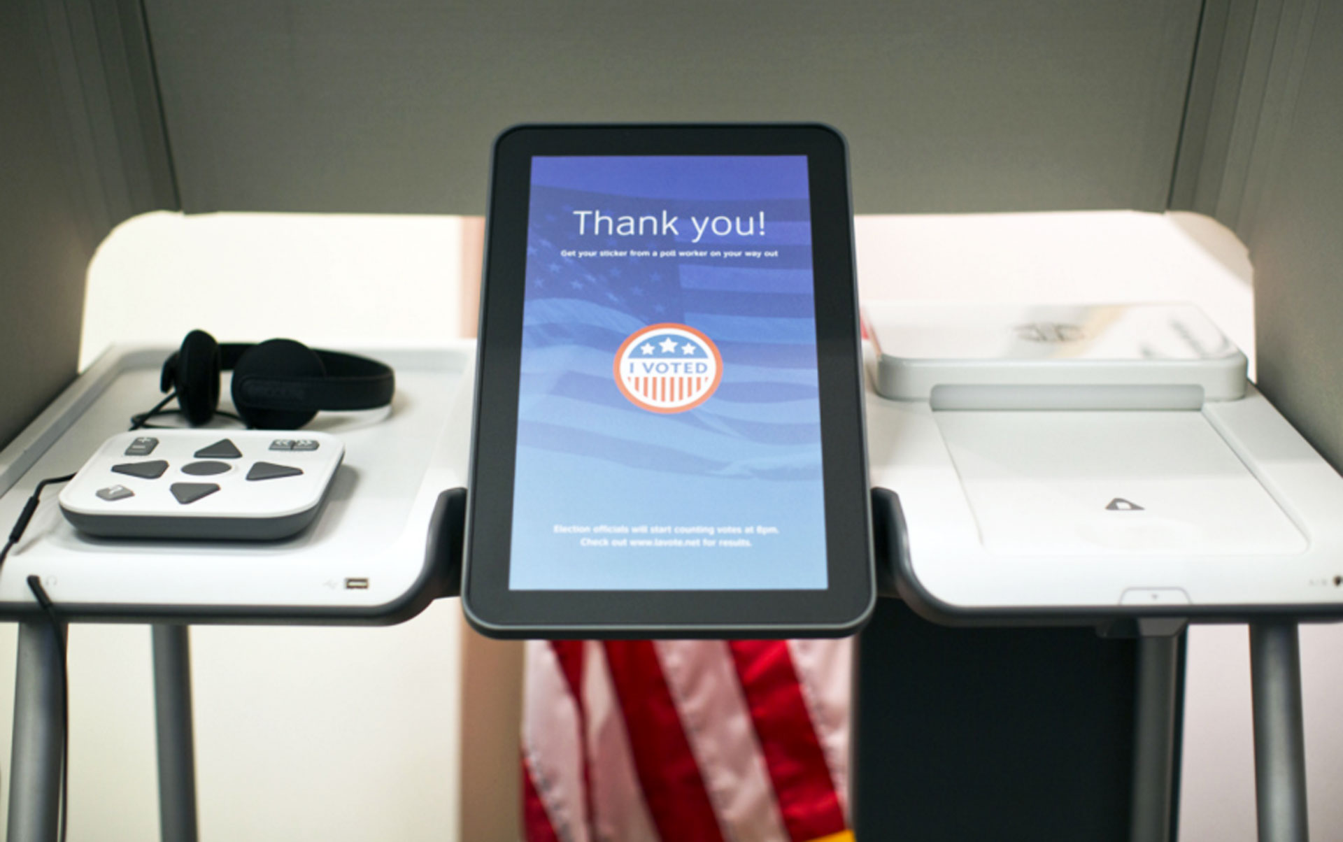 A non-functioning prototype shows what new ballot-marking devices might look like inside the Los Angeles County Registrar-Recorder/County Clerk's Office on Monday, Oct. 26, 2015.