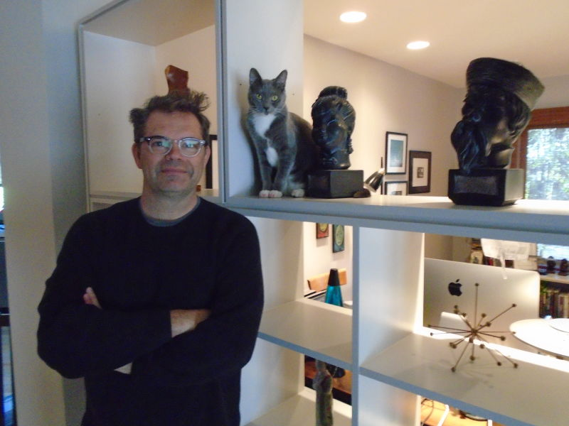 Comedian Dana Gould and his cat Ella.