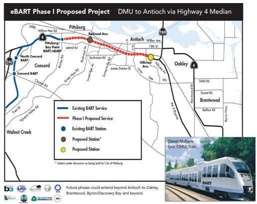 The eBART Expansion Project includes two new stations past the existing Pittsburg/Bay Point Station