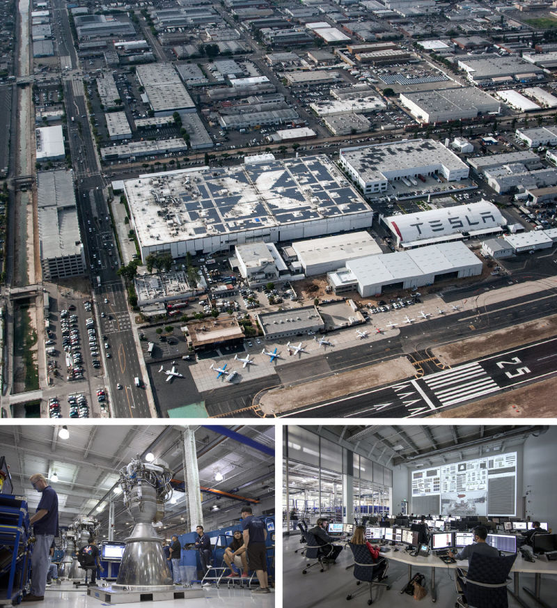 Aerospace has long been at the heart of manufacturing in Southern California. Commercial space exploration company SpaceX, formed in 2002, found a home in Hawthorne, in southwestern Los Angeles. SpaceX designs and manufactures most of its spacecraft in this factory, which was once owned by the Northrop Corp., where parts were made for Boeing 747 aircraft.
