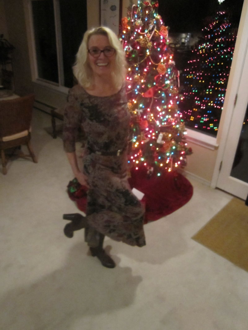 Meg McDonnell in her new Zappos shoes next to her Christmas tree in Washington.