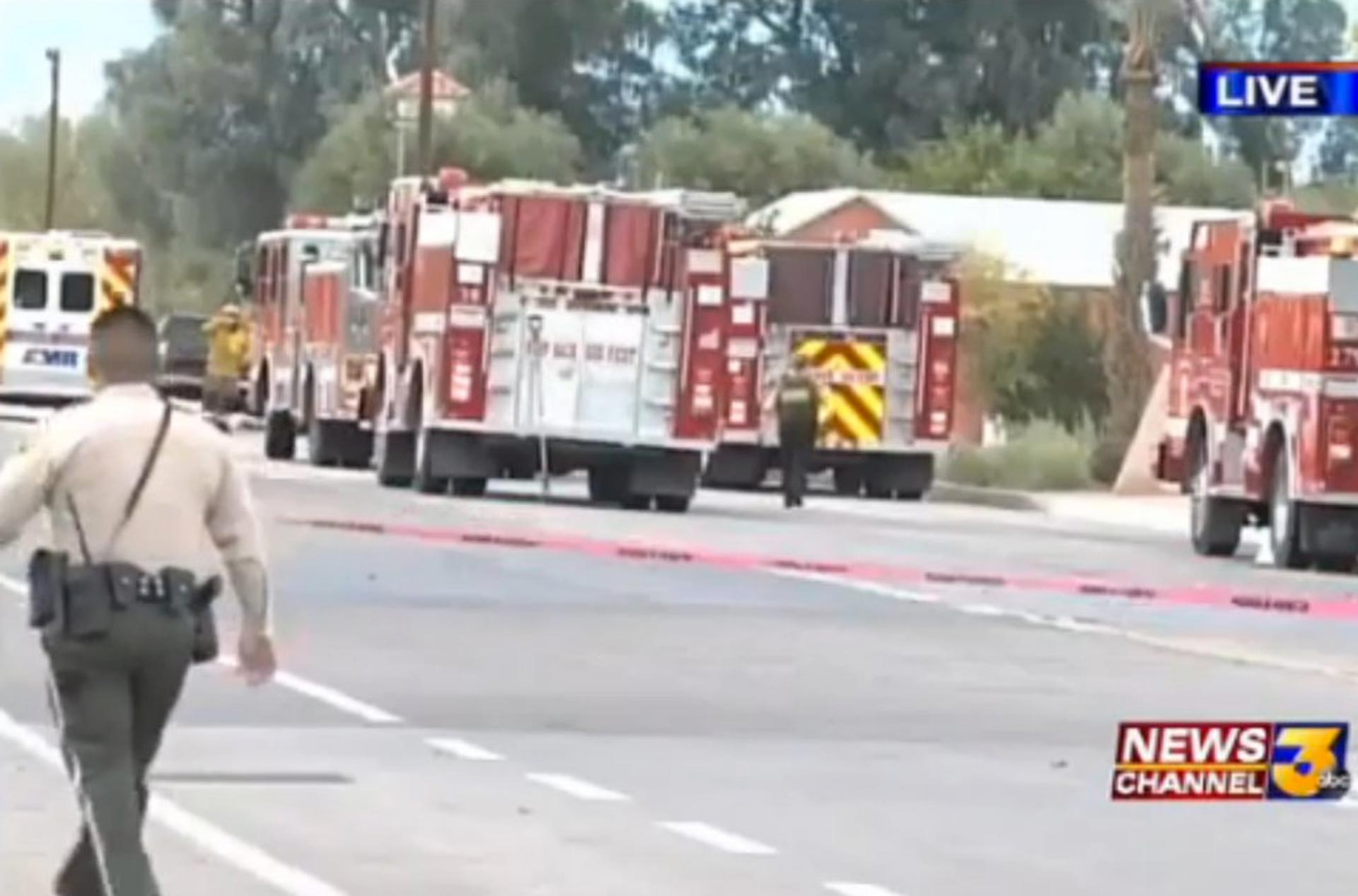 A screen capture of an ABC News broadcast shows fire trucks arriving outside the Islamic Center of Palm Springs.