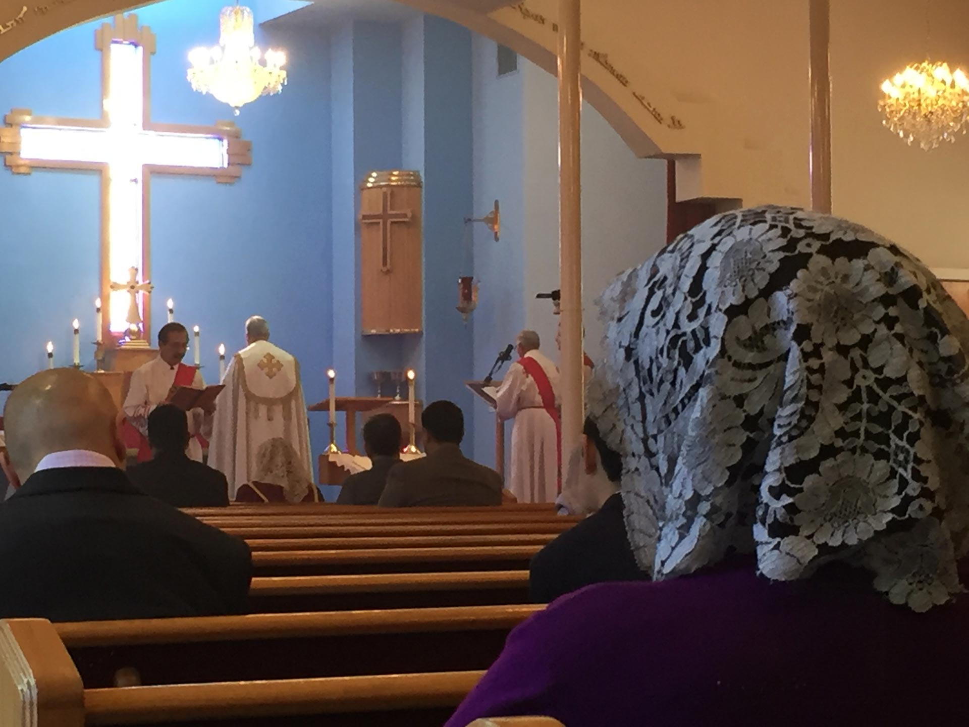 Parishioners worship at Mar Yosip Assyrian Church of the East in Nov. 2015. Assyrians -- one of the Middle East's oldest ethno-religious groups -- now face extinction at the hands of the self-described Islamic State.
