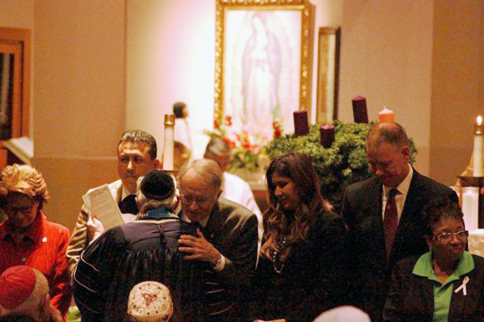 Hundreds of people gathered for an interfaith service at Our Lady of the Rosary Catholic Cathedral in San Bernardino on Wednesday night.
