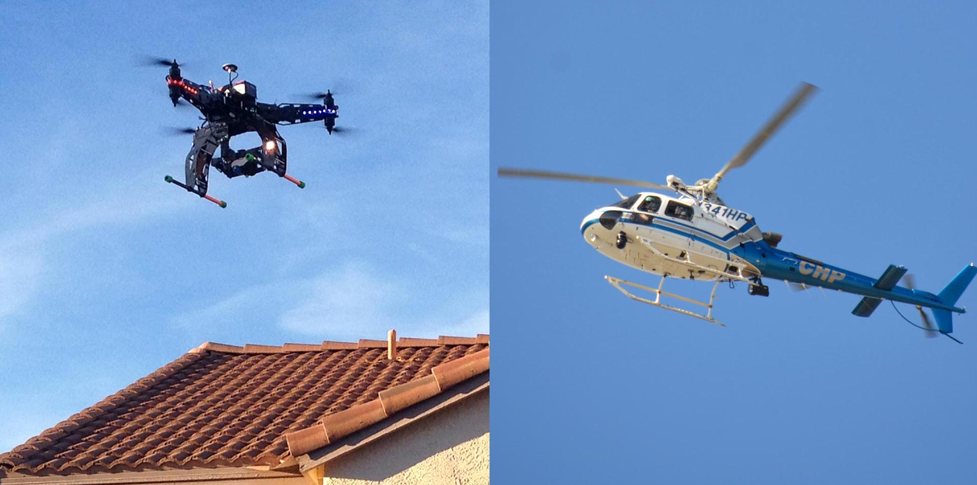 A recreational drone flies over a home (L); a CHP helicopter flies in Northern California.