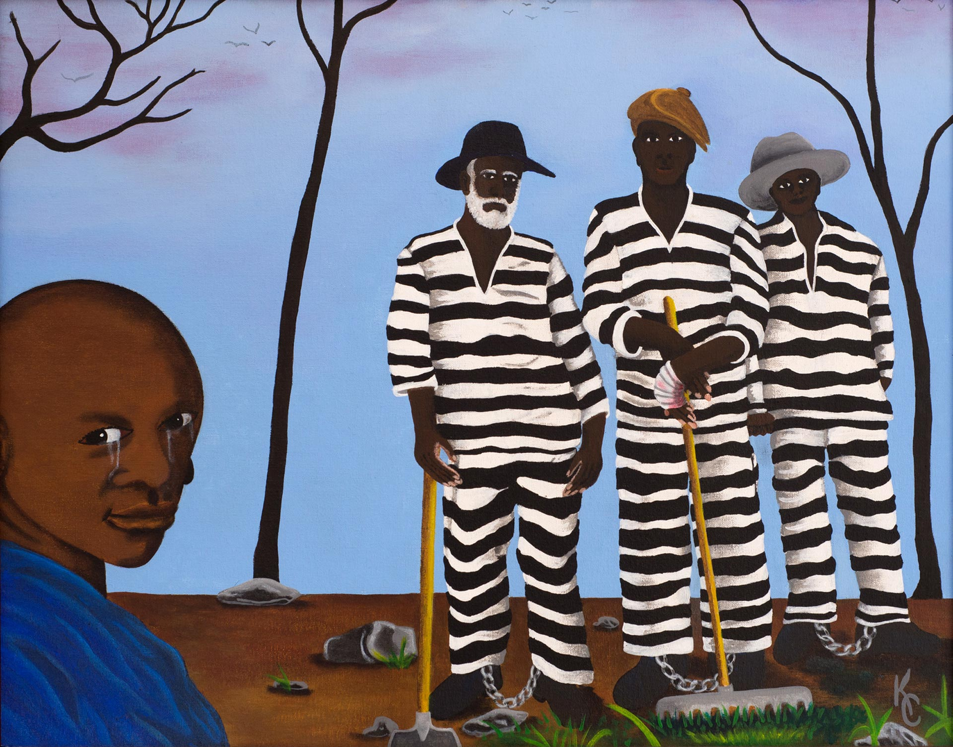"Death row inmate Kevin Cooper's painting ""It's a Generation Thing in America,"" part of the ""Windows on Death Row"" exhibition."
