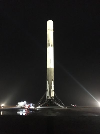 A handout picture made available by SpaceX shows its Falcon 9 rocket after it had landed at Cape Canaveral on Monday night.