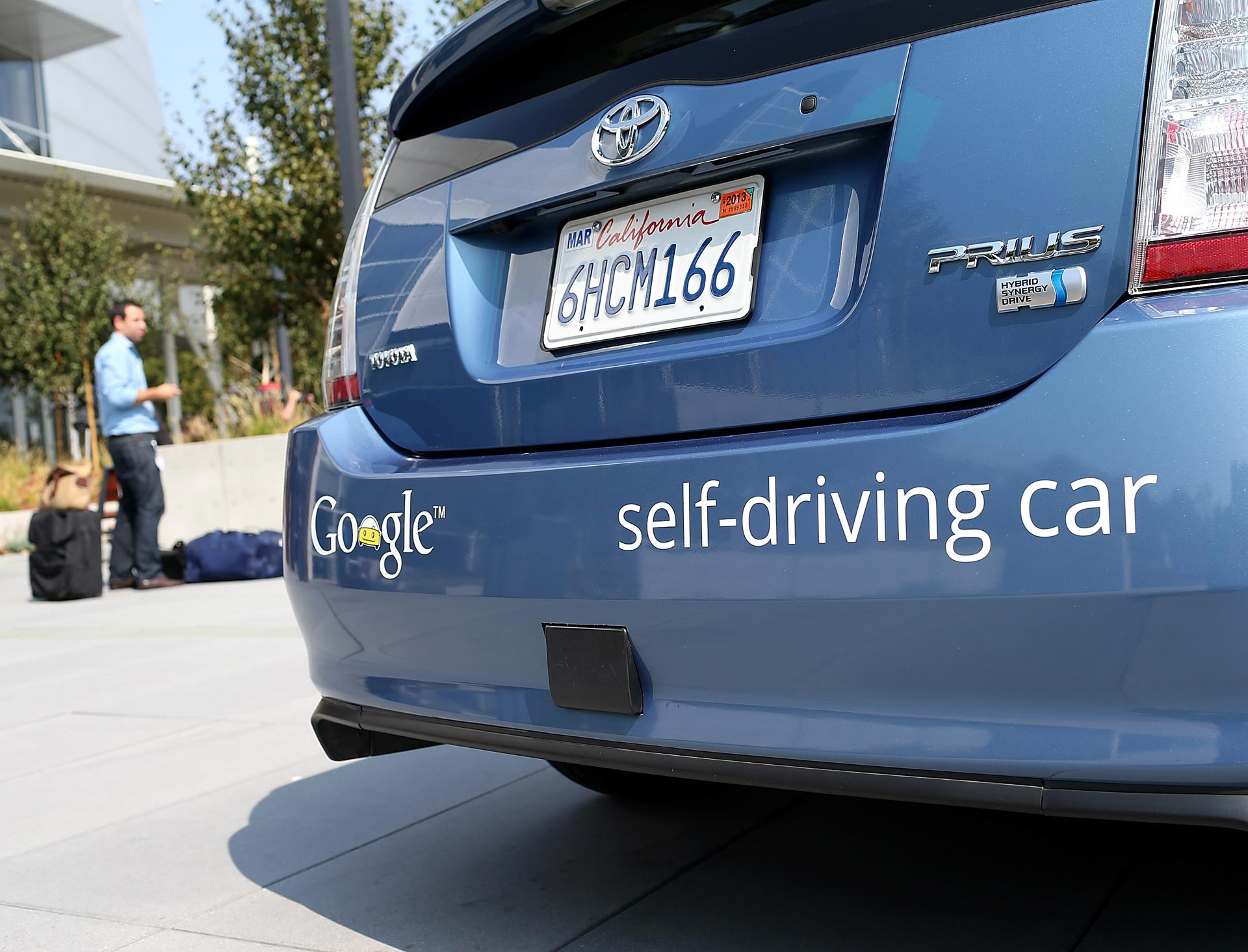 A Google self-driving car is displayed at the Google headquarters on September 25, 2012.