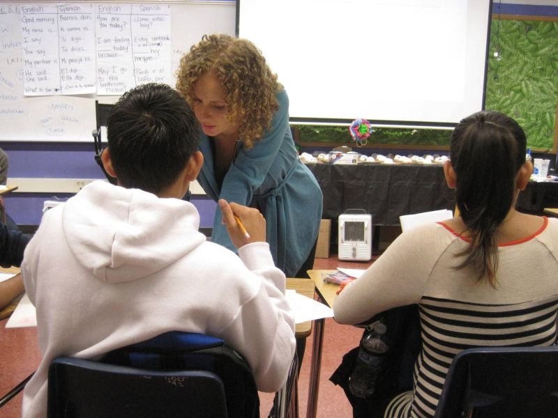 Oakland teacher Carrie Haslanger is works hard to provide emotional and academic support to her newcomer students at Castlemont High School.