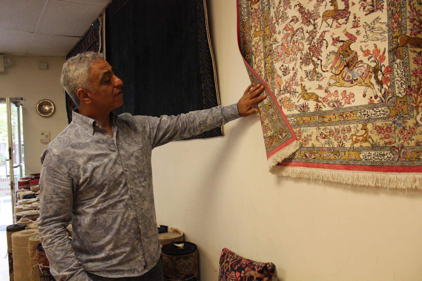 Siamak Shamouilzadeh at his Ariana Rug Gallery in Los Gatos