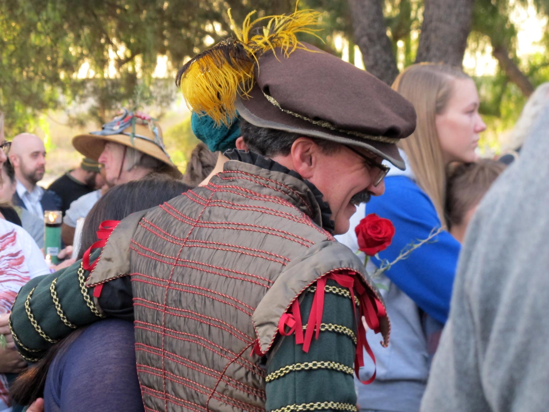 Some people showed up in costume to the Renaissance Pleasure Faire site in Irwindale to remember Larry Daniel Kaufman, a member of their community for more than a decade and a half.