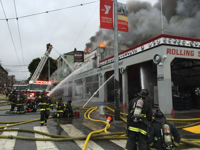 Fire at Rolling Stock tire shop at 16th and Shotwell in San Francisco on Sunday, Nov. 8, 2015.