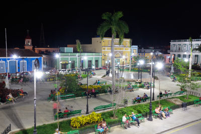 Gregory Baker of Santa Clara University says he saw a surprising number of people on smartphones accessing the Internet in squares like this one in Sancti Spiritus, a town in central Cuba.