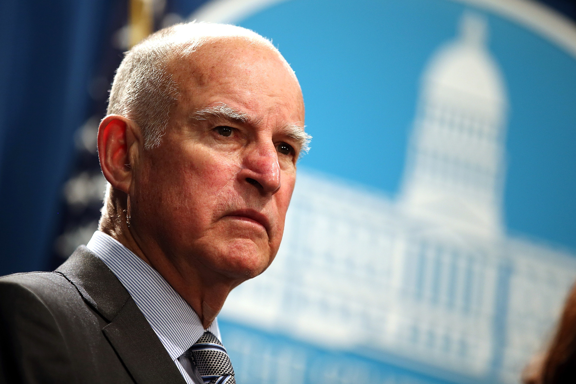California Gov. Jerry Brown speaks during a news conference.