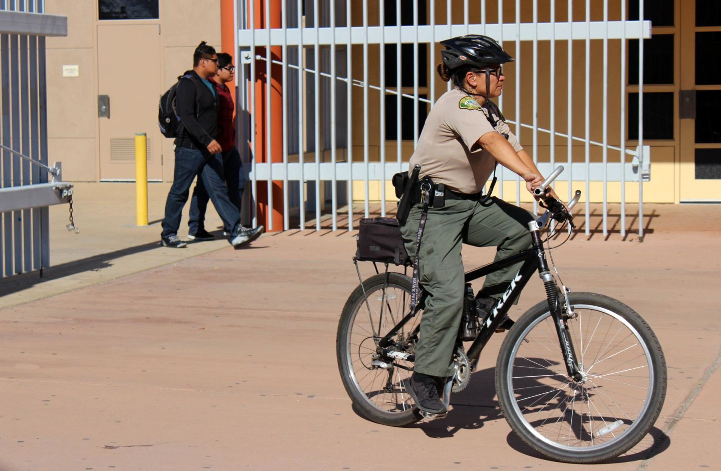 San Bernardino City Unified School District police officers get support from more than 50 campus security officers who patrol campuses and are trained in handcuffing and baton use.