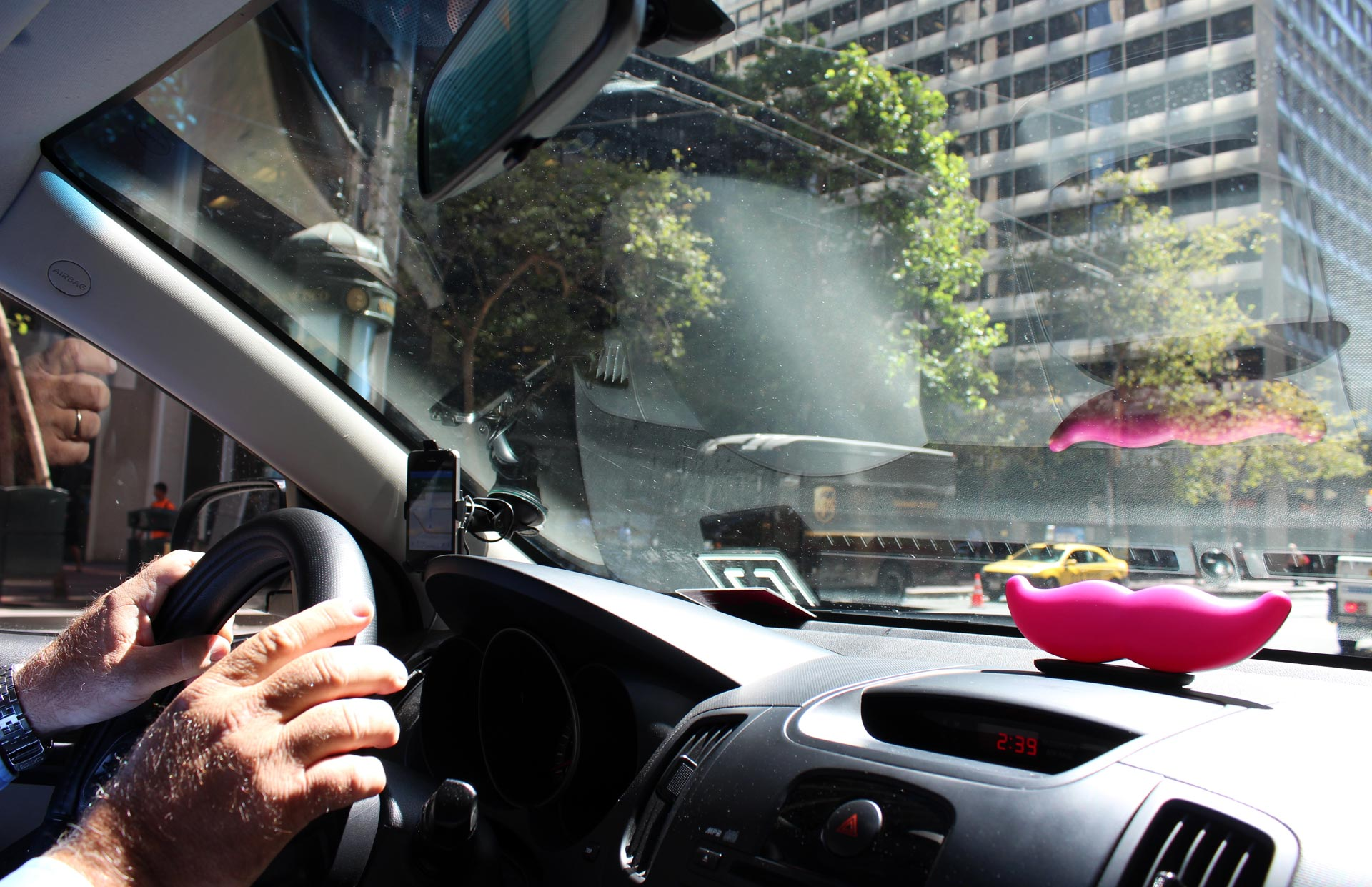 James Lesondak, 58, drives through downtown San Francisco on Aug. 31, 2015. Lesondak works for both Lyft and Uber.