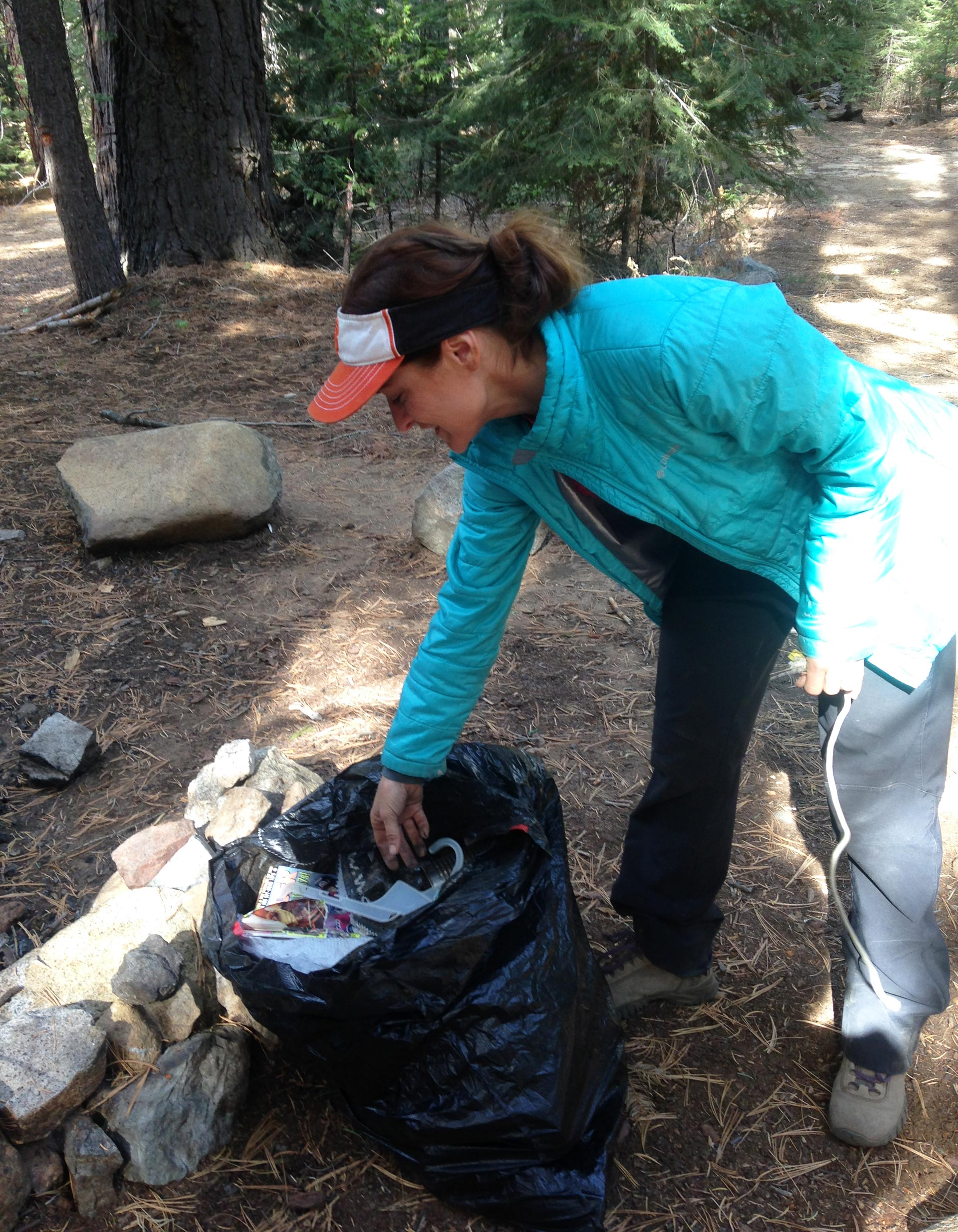 Deanna Lynn Wulff always brings trash bags to the Sierra National Forest so she can pick up litter.