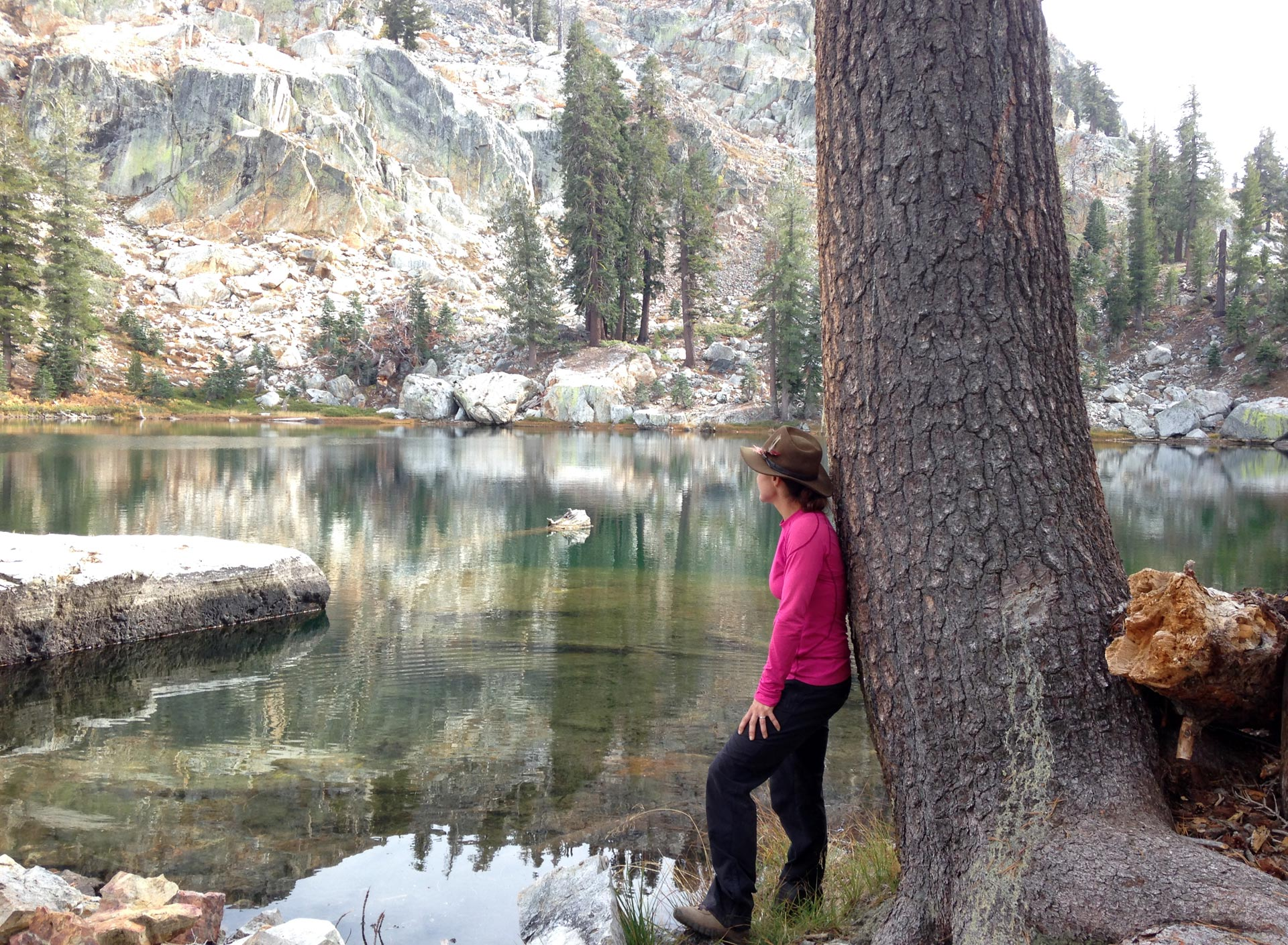 Deanna Lynn Wulff looks out over Bare Island Lake in the Sierra National Forest.